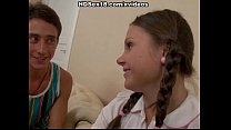 Cute girl with pigtails fucks in the armchair Preview