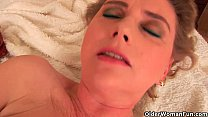 Grandma with large breasts and unshaven pussy i...