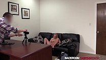 Blonde babe amateur Stacey fucks for creampie in 1st casting