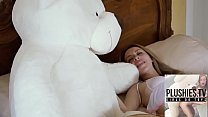Teen girl Tracy fucked by ritch teddy bear at the  villa in a jungle of Bermuda preview image
