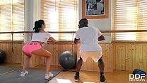 Busty Gym Instructor Jasmine Jae Rides Big Black Cock With Her Asshole