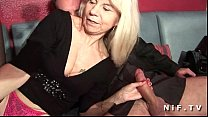 French mature in stockings gets double penetrated in a swinger club