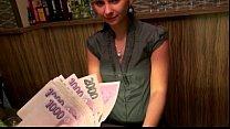 Cute Amateur Br unette Euro Bartender Marie An tender Marie Analyzed For Cash