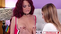 Teen redhead licks her blonde neighbor