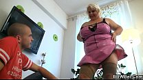 Huge blonde lady gets doggystyled preview image
