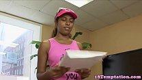 Ebony teen jizzed in mouth after blowjob
