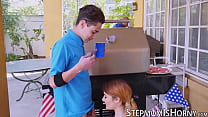 Redhead Monique Alexander shares cock with stepdaughter