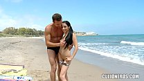 Nerdy Amateur Sucks Cock on beach porn thumbnail