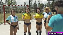 Hot soccer team babes shared with a meaty cock