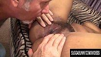 Hairy Bushed Ebony Chick Lila Jordan Fucks an Older White Guy Until He Pops