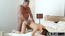 Young Girl Vs Old Man - Skinny Teen taking facial from fat grandpa preview image