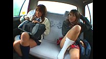 Asian two schoolgirl and taxi driver making sex...