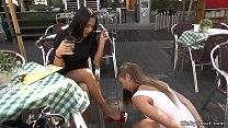 Image: Brunette slut sucks huge dick in public