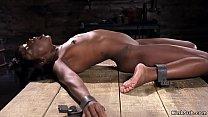 Shackled ebony babe hard whipped porn image