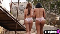 Sexy lesbian babes hot posed outdoor for the camera