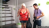 Huge boobs woman fucked on the floor preview image