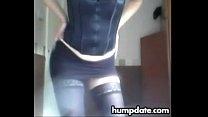 Hot babe in stockings teasing