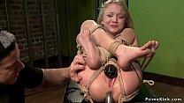 Skinny blonde slave anal toyed pornhub video