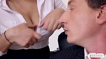 Boss fucks busty German secretary and cums on her big tits - naturistin thumbnail