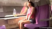 blowjob queens ◦ Bursting To Pee In Train, Pretty Lady Can't Use The Toilet of That Train thumbnail