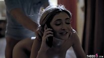 Babysitter teen fuck while on the phone with bo... Thumbnail