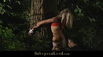 Doris Ivy tied up by a tree and spanked image