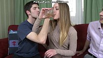 Dissolute girl banging with two guys and lickin...