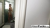 Free download video bokep Alison showers and plays with her tight pussy
