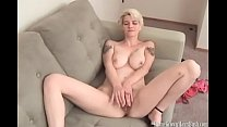 Sexy busty blonde massaging her hairy pussy and swollen clit preview image