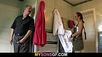 Horny dad uses son's girlfriend