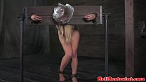 Image: Breath play blonde sub whipped on butt