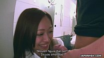 Cute Asian smelling the dick she teases real st...