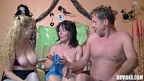 Stockinged german whore fucked in threesome Thumbnail