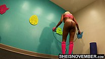 11348 4K Msnovember Horny Old Coach Made Cute Little Ebony Spinner Jump Rope Naked In His Gym , Large Natural Saggy Busty Breasts , Dark Puffy Nipples , And Big Areolas Bouncing While Working Out Her Slim Ass And Petite Thighs HD Sheisnovember preview