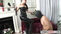 Latex Femdom Ball Kicking Her Pathetic Cbt Gimp