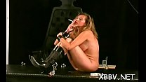 Naked female stands obedient and endures harsh sadomasochism Thumbnail