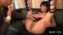 Big titted french milf hard double teamed video