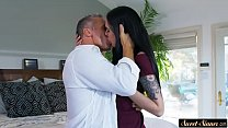 Inked teen beauty screwed by her stepdad