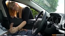 Cute blonde gives me nice handjob in public parking lot.MP4 thumbnail