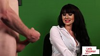 British CFNM voyeur enjoys JOI in the office
