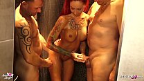 No Condom Gangbang for German Redhead Teen in the Shower