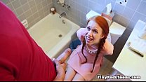 Dolly Little gets a jolt in her stomach from bigdick