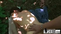 Horny brunette granny Inci gets pounded in woods