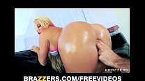 HOT blonde with a perfect ass is oiled up for rough anal thumbnail