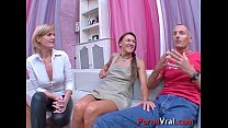 Two girls and one boy violent orgasm!! French a...