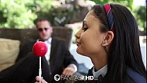 Young college girl Ariana Marie is taught about...