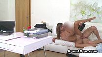 Teen gets huge jizz on her back in casting pov preview image