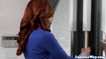 Redhead milf lesbian scissoring babe in group thumbnail