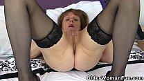 British gilf Pandora gets busy with her dildos