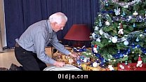 Grey oldman receives a real doll to fuck for Christmas